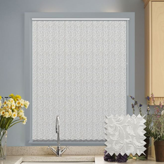 White Vertical Blinds - Made to Measure vertical blind in Ivy Pattern White - Just Blinds